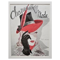 Matted Mid-Century French Fashion Print-HATS