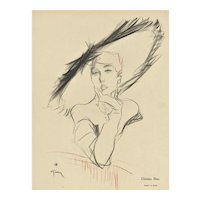 Matted Mid-Century Fashion Dior Hat Print by Gruau