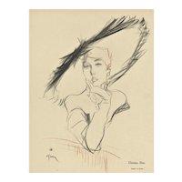 Matted Mid-Century Fashion Dior Hat Print by Gruau