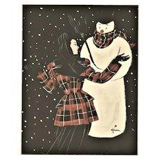 Matted Mid-Century French Fashion Print - Winter Wonderland