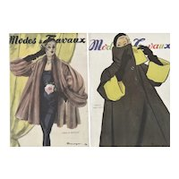 PAIR-Matted French Mid-Century Fashion Design Prints