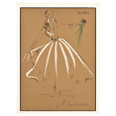 Matted 1957 Original French Fashion Drawing Design-Gouache