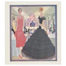 FABULOUS Matted Art Deco French Fashion Print 1927