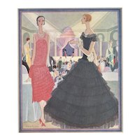 FABULOUS Matted Art Deco French Fashion Print 1927