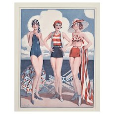 SUMMER FUN-Matted Art Deco French Fashion Print-Beach Wear