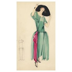 Original Art Deco Fashion Drawing in Watercolor and Gouache
