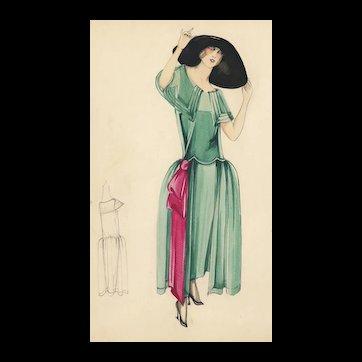 Original Art Deco Fashion Drawing in Watercolor and Gouache