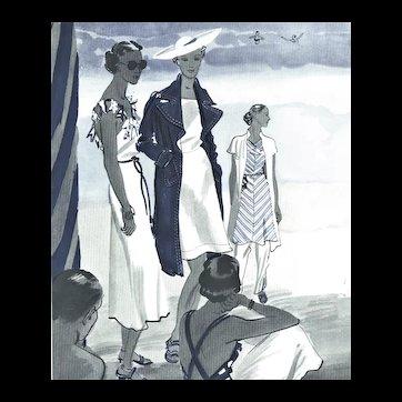 PAIR-Matted set-1936 Vintage French Fashion Prints-Beach