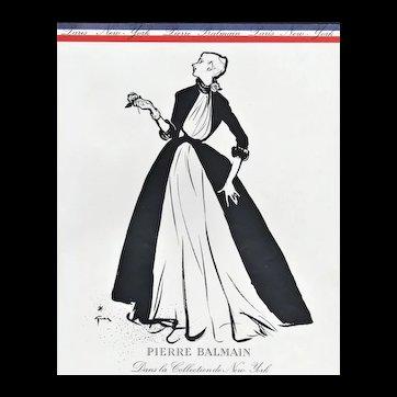 Matted Mid-Century 1952 French Fashion Print-Balmain by Gruau