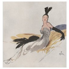 Matted Mid-Century French Fashion Print-Lucien Lelong by Gruau