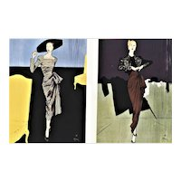 Rare Pair-Matted Vintage Mid-Century Evening Fashion Prints by Gruau