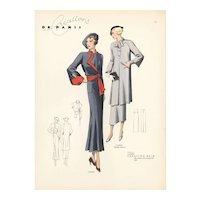 Original 1937 French Art Deco Fashion Design