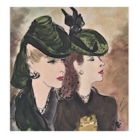 Matted Mid-Century Fashion Print-Women in Hats