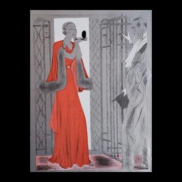 RARE Matted 1932 Art Deco Fashion Print-Elegant Evening Wear