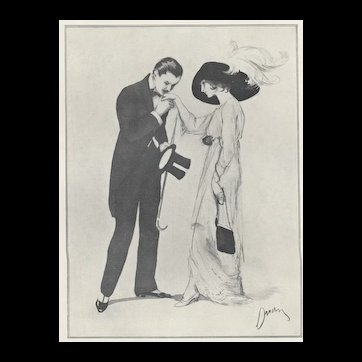Matted 1911 French Fashion Print-LOVERS