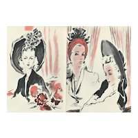 PAIR Matted French Mid-Century Fashion Prints-Hats