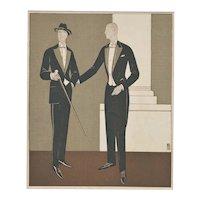 Matted 1922 Men's Formal Wear Fashion Pochoir-Tuxedo