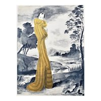 Matted 1938 Art Deco French Fashion Print