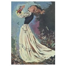Matted 1945 Mid-Century French Ball Gown Fashion Print-Brenot