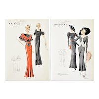 Set of 2-Vintage Art Deco French Fashion Design Prints