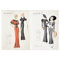Set of 2-Vintage Art Deco French Fashion Design Prints