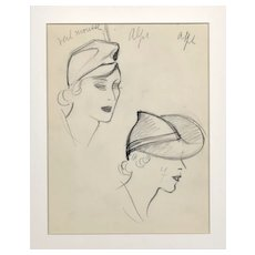 Matted 1935 Art Deco French Hat Design Original Drawing