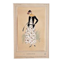 Matted French Art Deco 1920s Fashion Pochoir Print