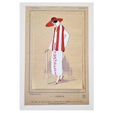 Matted French Art Deco 1920s Fashion Pochoir Print