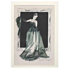 RARE PAIR French Mid-Century Evening Fashion Print-Gruau
