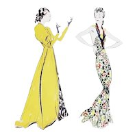 PAIR 1936 French Art Deco Fashion Prints-Schiaparelli, Lanvin