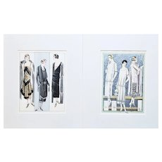 PAIR-Matted French 1925-26 Fashion Prints