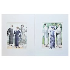 PAIR-Set of 2 Matted French 1920's Fashion Prints