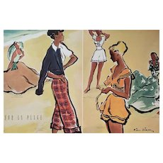 PAIR- Matted 1948 French Mid-Century Beach Fashion Prints