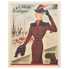 1939 Matted Art Deco French Fashion Print