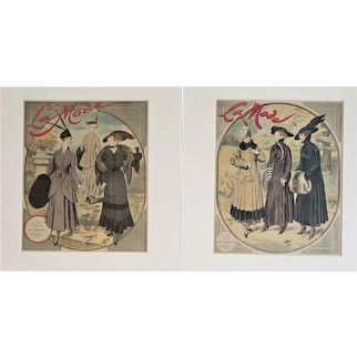 1915 Pair of French Fashion Matted Prints