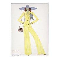 1972 Original French Summer Fashion Drawing