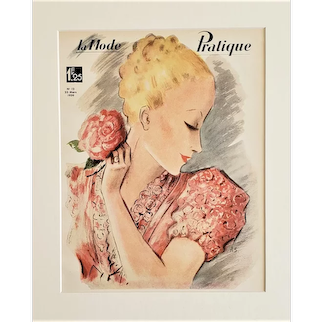 1931 French Art Deco Fashion Print-Woman with a ROSE, matted