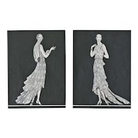 1929 Pair- Haute Couture French Art Deco Fashion Prints, Matted