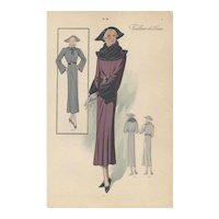 Vintage French Art Deco Fashion Design Print
