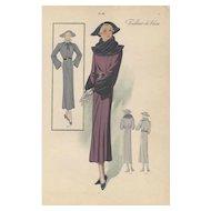 Vintage French Art Deco Fashion Design Print