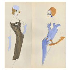 PAIR-FUN Original French Fashion Drawings