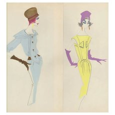 PAIR-FUN Original French Fashion Drawings