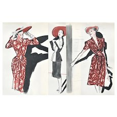 RARE Set of 3 Matted Vintage Mid-Century French Fashion Prints-Gruau