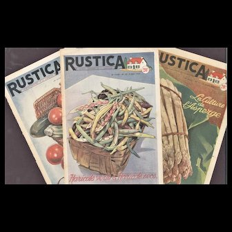 FUN-Set of 3 Mid-Century Vintage French Country Kitchen Vegetable Prints