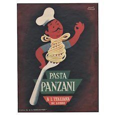 Matted Mid-Century Pasta Advertising Food Print for your Kitchen