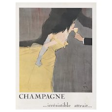 Matted Mid-Century Champagne Print by Gruau