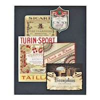Matted Collage Print-Vintage Alcohol Wine Labels