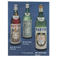 Matted Mid-Century French Martini Alcohol Advertisement Print