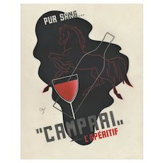Matted 1937 French Art Deco Alcohol Advertising Print-Compari