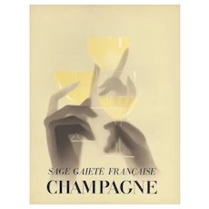 Matted 1932 French Art Deco Champagne Print-Paul Iribe